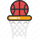 backboard, ball on hoop, basketball goal, basketball stand, goal icon
