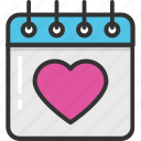 calendar, event, heart calendar, loving day, valentine day icon