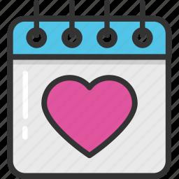 calendar, event, heart calendar, loving day, valentine day icon