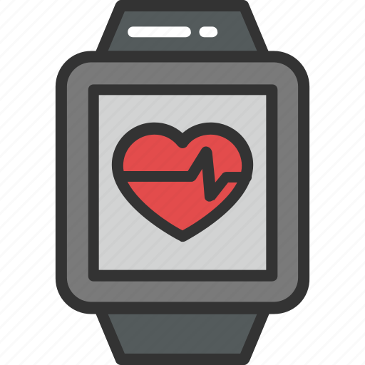 cardiac watch, cardio workouts, heartbeat smartwatch, pulse concept, pulse watch icon
