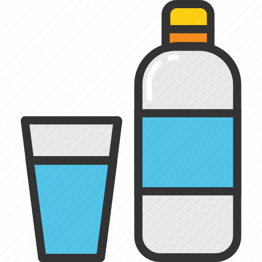 drink, energy drink, glass and bottle, sports drink, water bottle icon