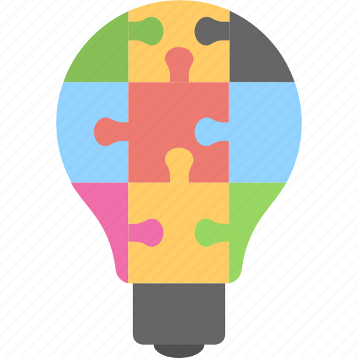 bulb, jigsaw, play, puzzle, puzzle piece icon