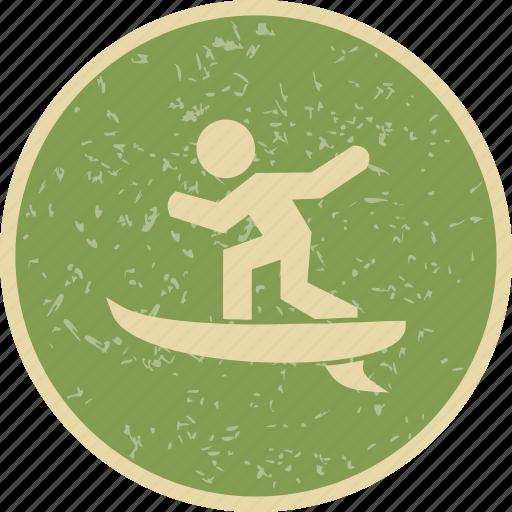 surf, surf board, surfer icon