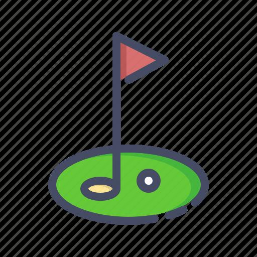 ball, club, course, field, flag, game, golf icon