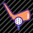 ball, bat, game, golf, hit, tee