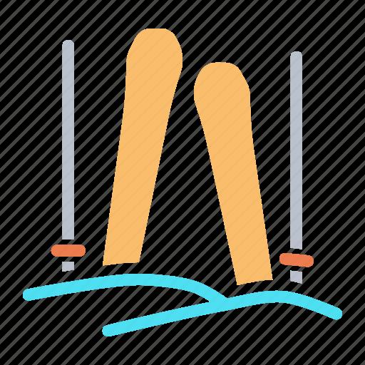 activity, ice, skate, skating, skii, skiing, snow icon