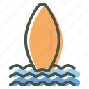 beach, board, fun, sports, surf, surfing, water icon