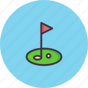ball, club, course, field, flag, game, golf icon