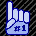 fanatic, finger, foam, sport icon