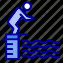 diving, jump, platform, pool, sport