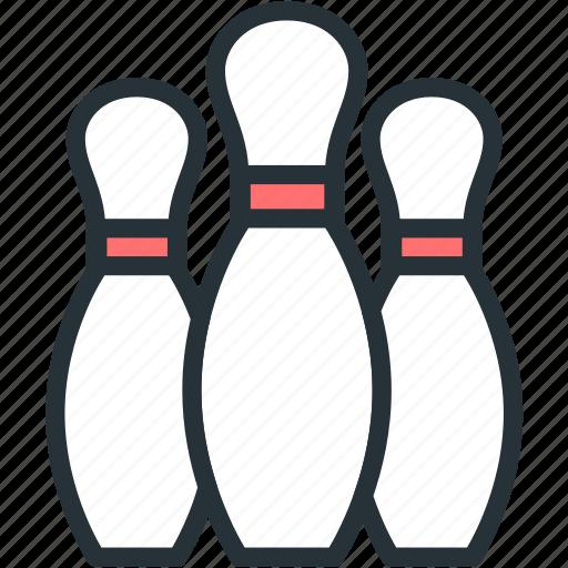 bowling, pins, sports icon