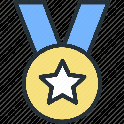 achievement, medal, sports, star icon