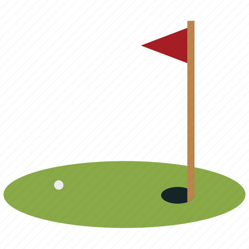 golf, golf ball, golf course, golf flag, hole, sports icon