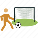 football, football player, goal, net, playing football, soccer, sports