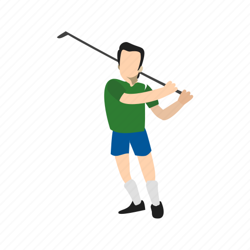 ball, goal, golf, player, post, sports, stick icon