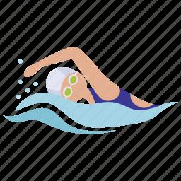 freestyle, pool, race, surf, swim, swimmer, swimming icon