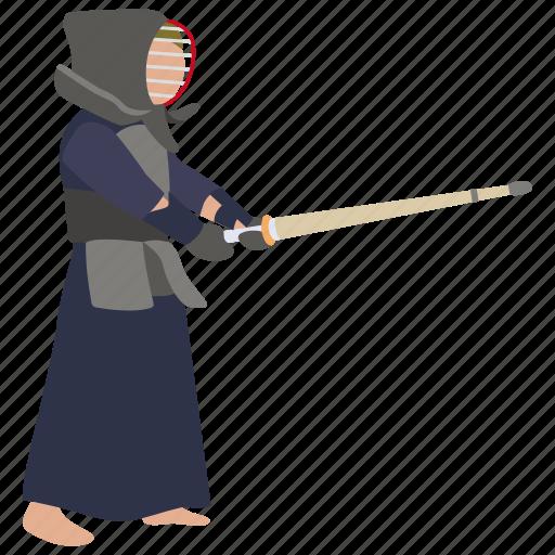 arts, kendo, martial, samurai, sparring, sport, sword icon