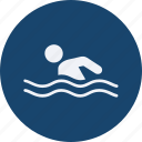 fitness, football, games, olympics, silhouette, sports, swimming icon