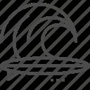 board, open waters, rider, sea, sport, wave surfing icon