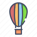 air, balloon, fly, fun, parachute, transportation, travel icon