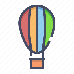 air, balloon, fly, fun, parachute, transportation, travel icon