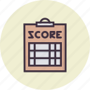 clipboard, coach, pad, paper, score, scorecard, umpire icon
