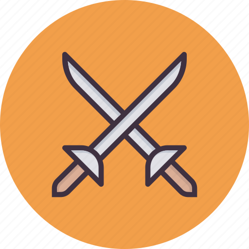 ammunition, combat, cross swords, fight, fighting, sword, weapon icon