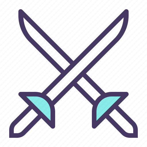 ammunition, cross swords, fight, fighting, olympics, sword, weapon icon