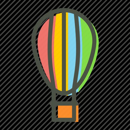 air, balloon, fly, fun, holiday, parachute, travel icon