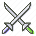 ammunition, combat, cross swords, fight, fighting, sword, weapon icon