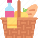basket, bottle, bread, drink, lunch, picnic icon