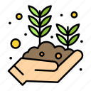 growing, hand, leaf, plant, seed icon