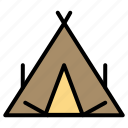 camp, spring, tent, wigwam icon