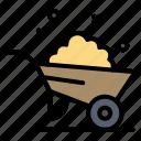 barrow, construction, spring, wheel icon