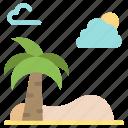 spring, palm, beach, tree