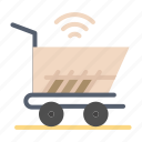 cart, shopping, trolly, wifi icon