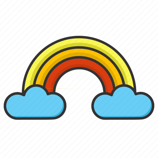 forecast, happy, rainbow, weather icon