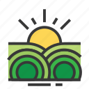 easter, farm, field, season, spring, sunrise icon