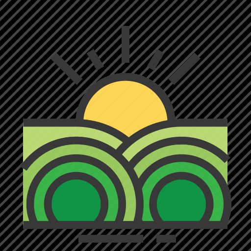 easter, farm, field, season, spring, sunrise icon