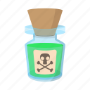 bottle, cartoon, danger, liquid, poison, skull, toxic icon