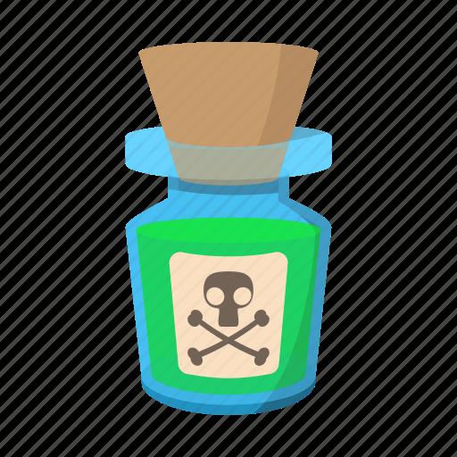 bottle, cartoon, danger, liquid, poison, skull, toxic icon