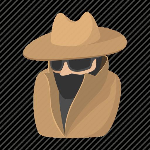 cartoon, detective, man, person, spy, suit, sunglasses icon