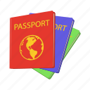 cartoon, immigration, pass, passport, tourism, travel, vacation icon