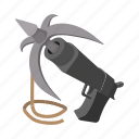 cartoon, equipment, grapple, grappling, gun, hook, metal icon