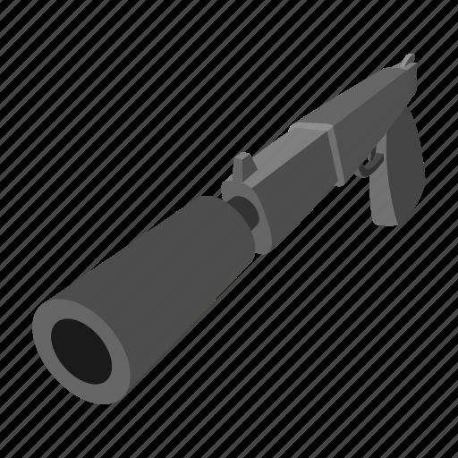 army, cartoon, gun, handgun, pistol, silencer, violence icon