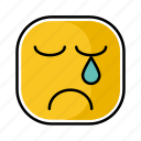 emotion, expression, face, sad, yellow icon