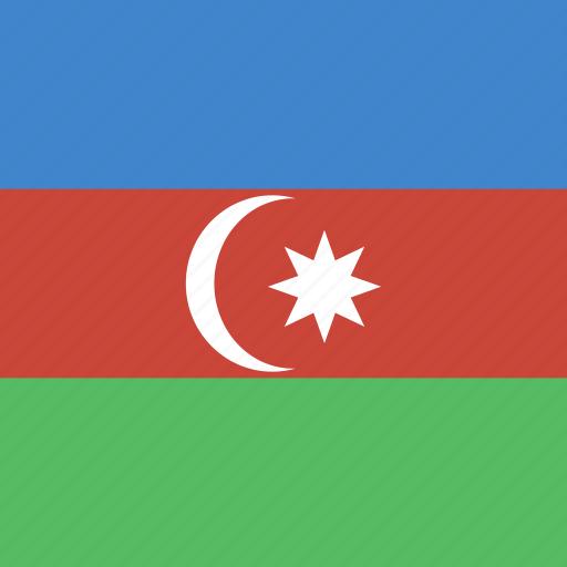 azerbaijan, flag, square icon