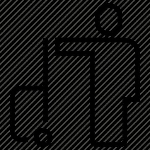 human, luggage, man, person, suitcase icon