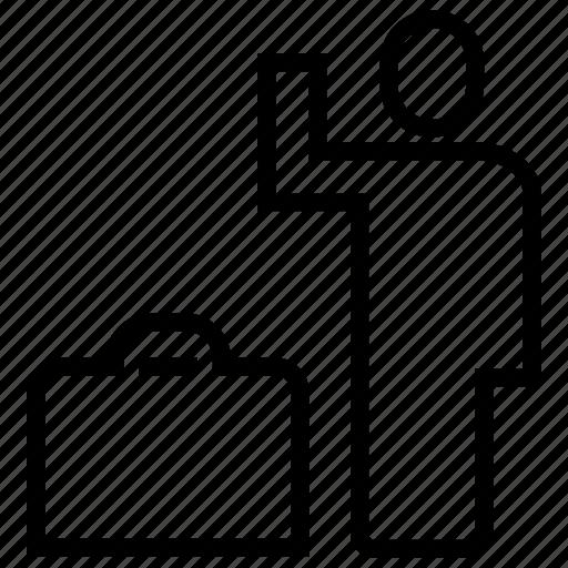 human, leaving, luggage, man, travel icon
