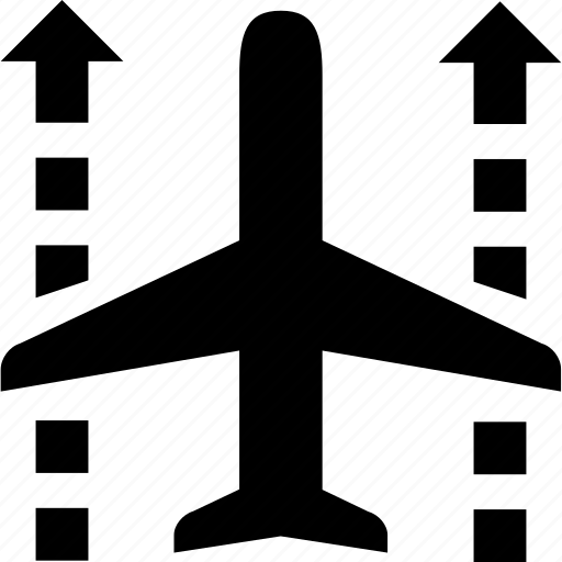 arrows, big, flight, landing, plane, transportation, travel icon